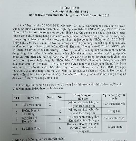 Thông báo Triệu tập thí sinh thi vòng 2 kỳ thi tuyển viên chức Bảo tàng Phụ nữ Việt Nam năm 2019