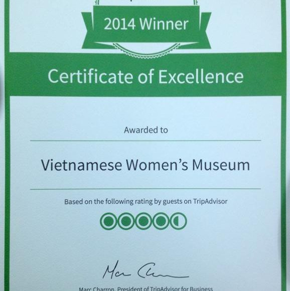 Vietnamese Women's Museum rated again by Tripadvisor best attraction 2014